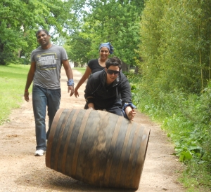 Leana Smit with the barrel, Seelan Naidoo & Charlene Moodley behind